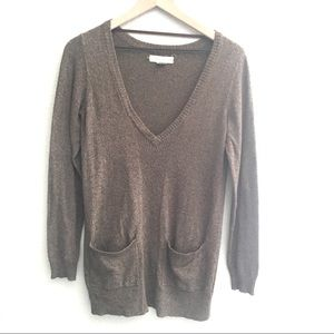 Anthro Staring at Stars Brown V Neck Sweater